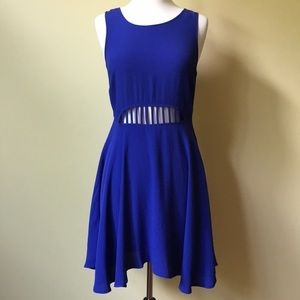 inTu Royal Blue Open Front Skater A-line Dress